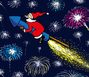 Happy New Year. Santa riding fireworks rocket on new years eve vector illustration