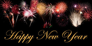 Happy New Year. Fireworks banner royalty free stock images