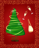 Happy New Year. Gift card with Christmas tree and champagne. Vector eps10 illustration Stock Photo