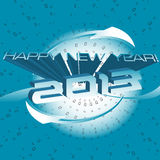 Happy New Year. Abstract colorful illustration with blue arrows and the text Happy New Year 2013 written with blue icy letters Vector Illustration