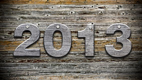 Happy new year. 2013 number on old wood background Stock Images
