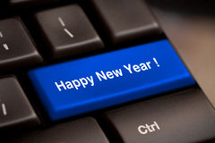 Happy new year. Message, keyboard enter key Stock Photography
