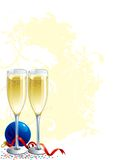 Happy New Year!. Two Vector Champagne Flutes, blue bauble and ribbon on abstract grunge background Royalty Free Stock Image