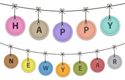 Happy New Year. Hanging colorful leather labels with Happy New Year words. Vector illustration vector illustration