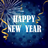 Happy new year. Background with fireworks, golden ribbons, baubles and stars on blue background. EPS file available