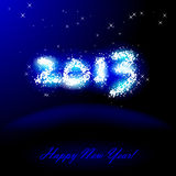 Happy New Year. Vector illustration of 2013 in sparkles over blue Stock Illustration