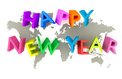 Happy New Year. 3-D text stands on world map stock illustration