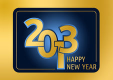 Happy new year. Golden graphical emblem for the New Year 2013 stock illustration