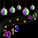 Happy new year. Colorful christmas decorations on a black background Vector Illustration