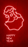 Happy new year. Logo with santa claus and 2013 neon light vector illustration