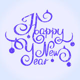Happy new year. Illustration retro handwritten font Royalty Free Stock Photography