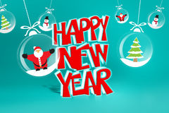 Happy new year. Logo with trees snowman and sant claus in glass christmas balls Stock Photo