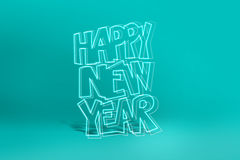 Happy new year. Happy newyear logo with neon lights in cyan background Stock Photo