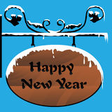 Happy New Year. Illustration of a wooden signboard Stock Photo