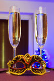 Happy New Year. Two flutes of champagne for Happy New Year celebrations Stock Image