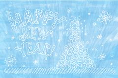 Happy New Year. Christmas blue background with Christmas tree and snowflakes Stock Illustration