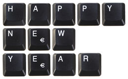 Happy new year. On computer Royalty Free Stock Images