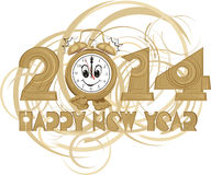 Happy new year. New year's clock with a dial smiling royalty free illustration