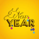 Happy new year. Over yellow background vector illustration vector illustration