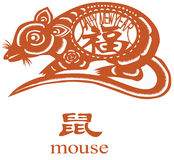 Happy new year!. Chinese Zodiac of mouse Year. The first day of Mouse year will be 2/7/2008. The Chinese character in the mouse's body means happy or lucky, it Royalty Free Stock Photos