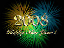 Happy New Year. 2008, blured fireworks Royalty Free Stock Photo