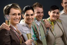 Happy New Year. Young businesspeople on New Year Eve Party stock photos
