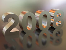 Happy New Year. High resolution image new-year.  3d illustration. Metal text. Mirror reflection Stock Photos