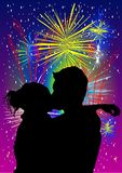 Happy new year. Man and girl kissing for new year Stock Image