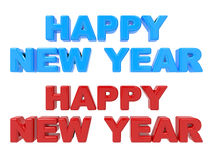 Happy New Year, 3D Text Red and Blue. Isolated on White Background vector illustration