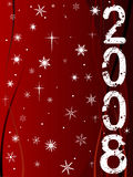 Happy New Year 5. Festive New Year Background with Shining point lights, swirls and snowflakes on a red fading background with Text vector illustration