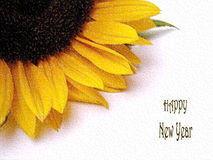 Happy New Year. Part of a abstract sunflower with the text Happy New Year Vector Illustration