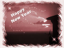 Happy new year. Illustration with silhouette-happy new year Royalty Free Stock Photography