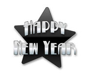 Happy New Year. In silver and Black Stock Images