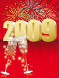 Happy new year. Celebrate the midnight shoot for the arrival of 2009 Royalty Free Stock Photo