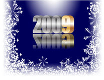 Happy New Year!. Vector - year 2009 in 3D letters, with beautiful  reflection and snowflake border - good for calendar headers Royalty Free Stock Photography