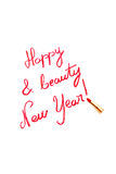 Happy New Year. Congratulation of new year writing with red lipstick Stock Photo
