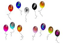 Happy new year. An happy new year flying in the sky  on the balloons Stock Image