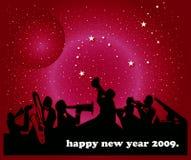 Happy New Year. Illustration of jazz band on new year background Royalty Free Stock Photo