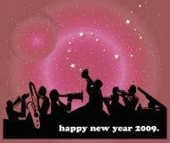 Happy New Year. Illustration of jazz band on new year background Royalty Free Stock Image