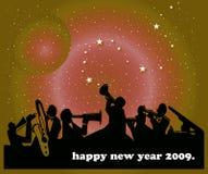 Happy New Year. Illustration of jazz band on new year background Royalty Free Stock Images