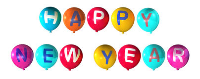 Happy new year. In colorful balloons stock illustration