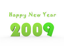 Happy New Year. Green Happy New Year congratulation with 3D year 2009 on white background vector illustration
