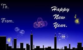 Happy new year. Happy new year above the night sky Stock Photos