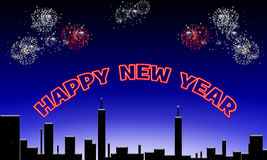 Happy new year. Happy new year above the night sky Stock Photo