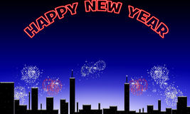 Happy new year. Happy new year above the night sky Royalty Free Stock Images