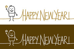 Happy new year !. Vector hand-drawn characters on line Stock Photography