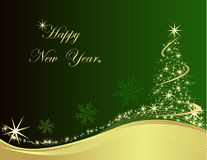 Happy New Year. Gold and green background vector illustration