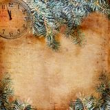 Happy New Year abstract background. With spruce branch and watch Stock Image