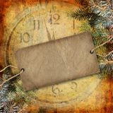 Happy New Year abstract background. With spruce branch and watch Royalty Free Stock Image