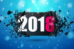 Happy New Year 2018 Abstract Background. Banner with explosion effect. Stock Photos